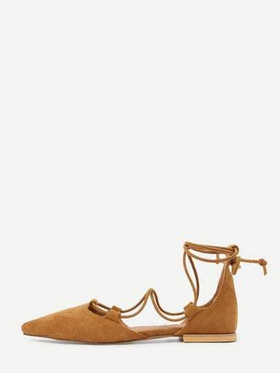 Brown Faux Suede Strappy Flats