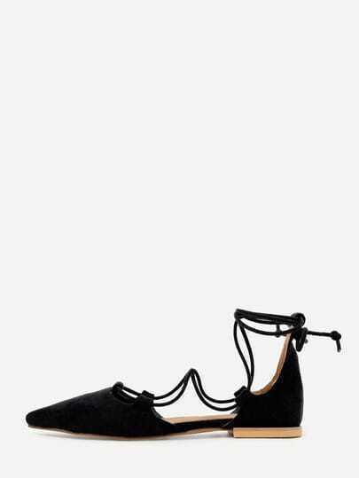 Sandalias faux suede strappy -negro