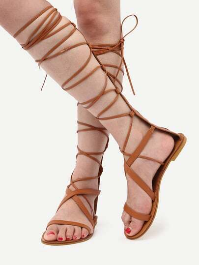 Brown  Open Toe Lace Up Sandals