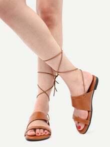 Sandales à lacets bout ouvert -marron