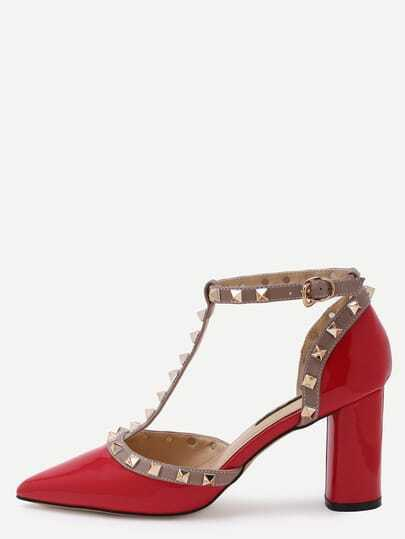 Red Pointed Out T-strap Studded Chunky Pumps