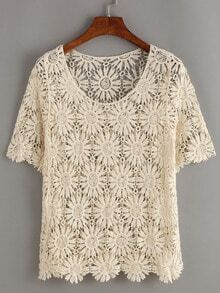 Apricot Short Sleeve Crochet Hollow Out Top