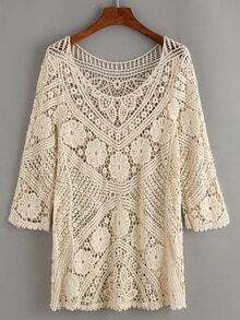 Apricot Crochet Hollow Out Top