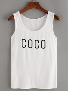 White Letters Print Tank Top