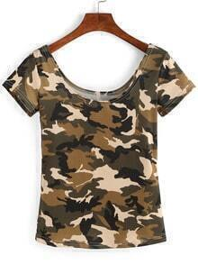 Scoop Neck Camo T-Shirt