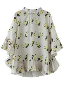 Multicolor Pleated Bell Sleeve Flowers Print Chiffon Blouse