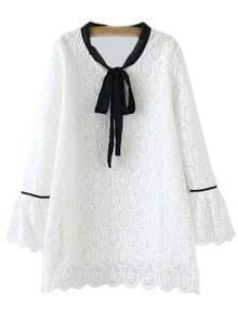White Bell Sleeve Contrast Tie Neck Bow Lace Blouse