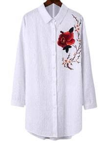 White Long Sleeve Flower Embroidery Lapel Blouse