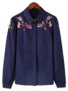Navy Long Sleeve Embroidery Lapel Blouse
