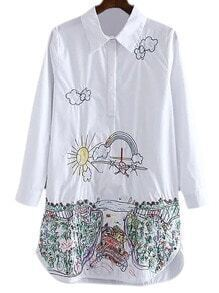 White Long Sleeve Cartoon Embroidery Blouse
