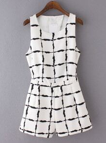 Black White Sleeveless Cross Back Ink Plaids Romper