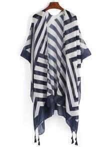 Striped Tassel Trimmed Kimono