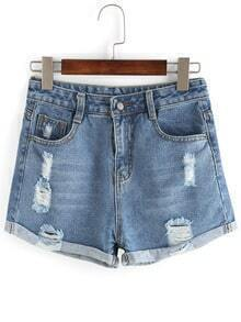 Frayed Roll Hem Denim Shorts