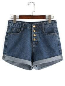 Buttoned Fly Roll Hem Denim Shorts