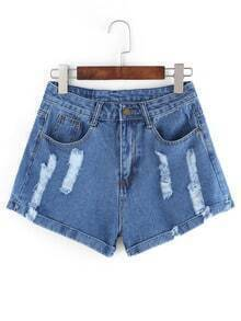 Frayed Roll Hem Light Blue Denim Shorts