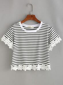 Striped Lace Trimmed Crop T-shirt