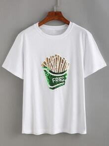 Sequin Fries White T-shirt