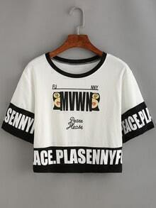 Contrast Letter Print Crop T-shirt - White