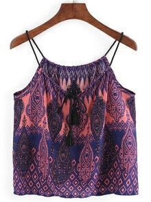 Tasselled Neck Paisley Print Cami Top