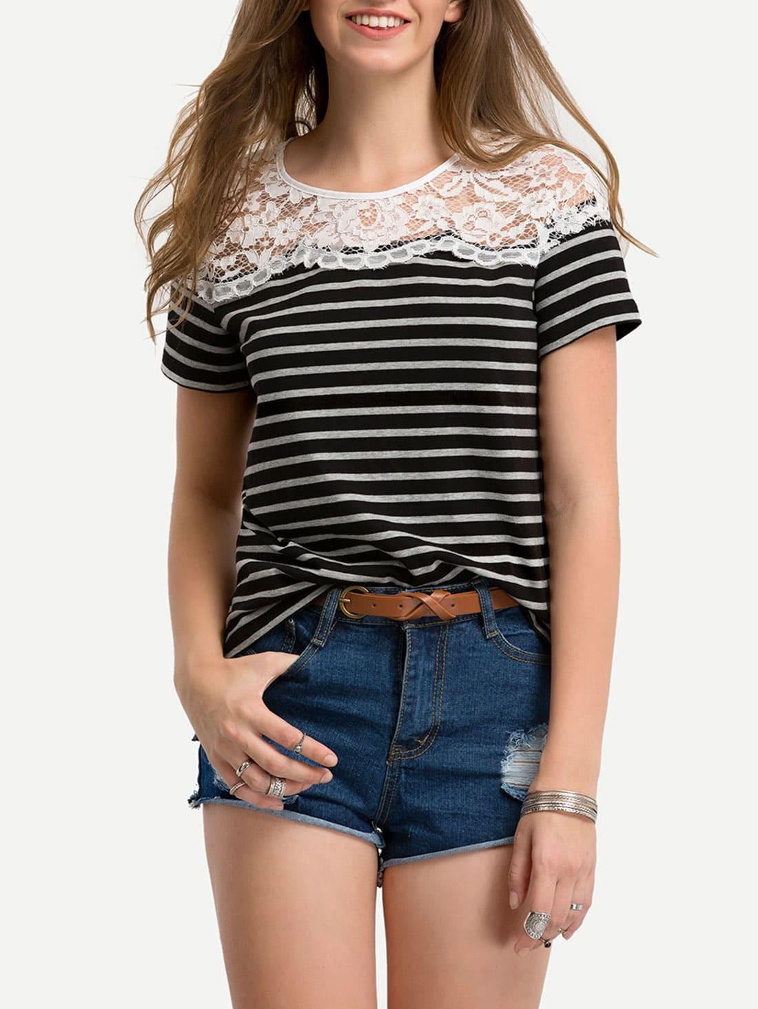 Фото Contrast Striped Lace Yoke T-shirt. Купить с доставкой