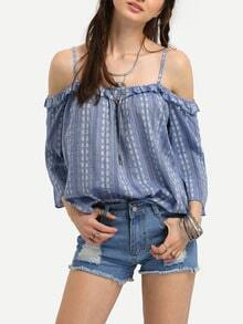 Light Blue Cold Shoulder Ruffle Blouse