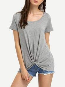 Grey Round Neck Casual T-shirt