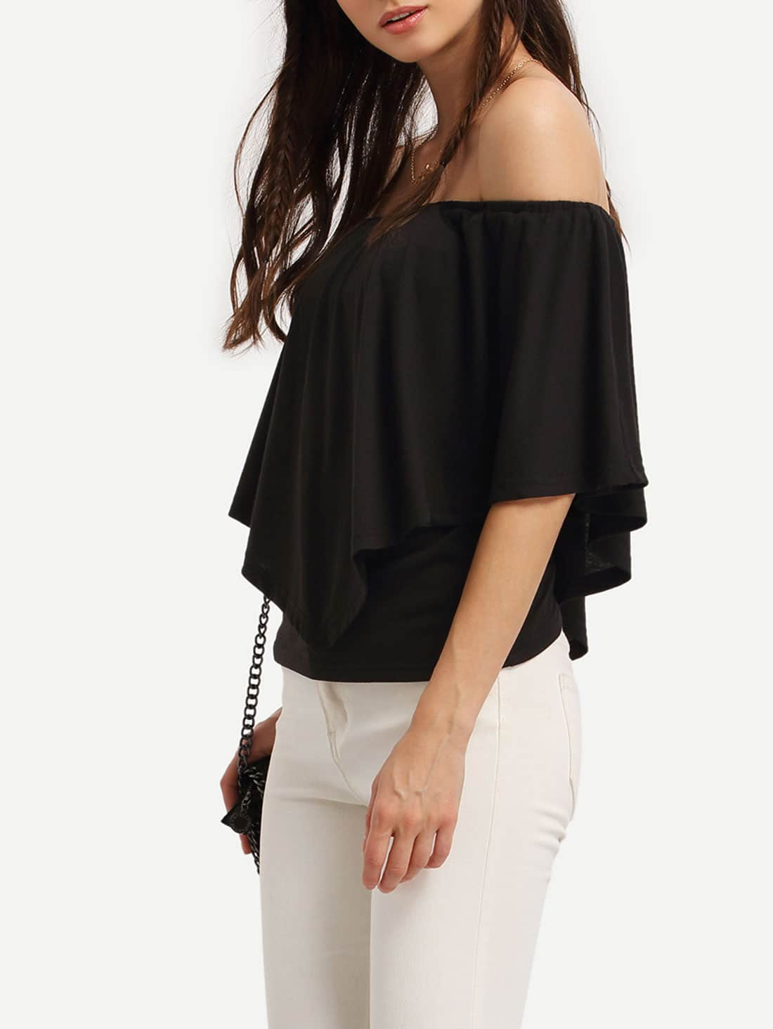Black Ruffle Off The Shoulder Blouse