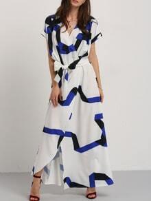 Blue Stripe In White Self-tie Waist Maxi Dress
