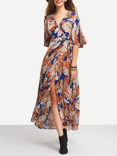 Printed Wrap Maxi Dress With Drawstring Waist