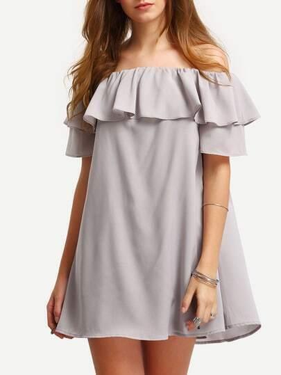 Flounce Layered Neckline Swing Dress