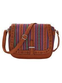 Tribal Striped Laser-Cut Flap Saddle Bag - Brown