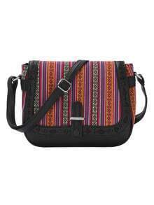 Tribal Striped Laser-Cut Flap Saddle Bag - Black