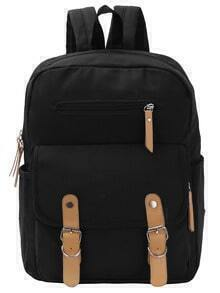 Double Buckle Canvas Backpack - Black
