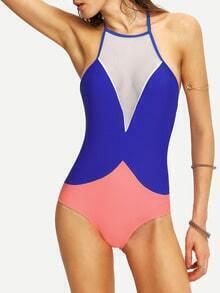 Contrast Mesh Insert One-Piece Swimwear - Blue