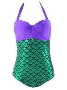 Halter Mermaid One-Piece Swimwear - Purple