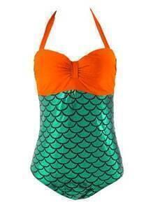 Halter Mermaid One-Piece Swimwear - Orange