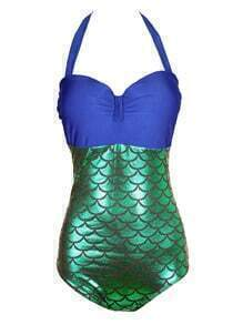 Halter Mermaid One-Piece Swimwear - Blue