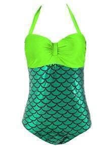 Halter Mermaid One-Piece Swimwear - Green
