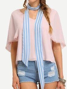 Blue & White Stripe Skinny Scarf