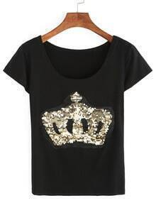 Gold Sequin Crown T-shirt
