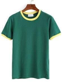 Striped Contrast Trim T-shirt