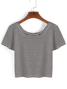 Thin Striped Crop T-shirt - Black