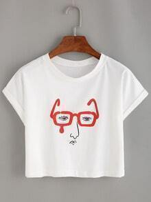 Glasses Man Print Crop T-shirt - White