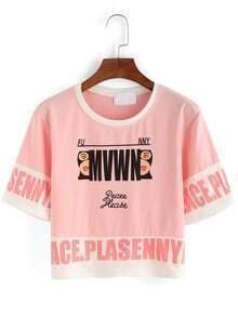 Contrast Neck Letter Print Crop T-shirt