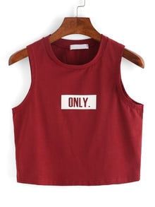 Letter Print Red Crop Tank Top