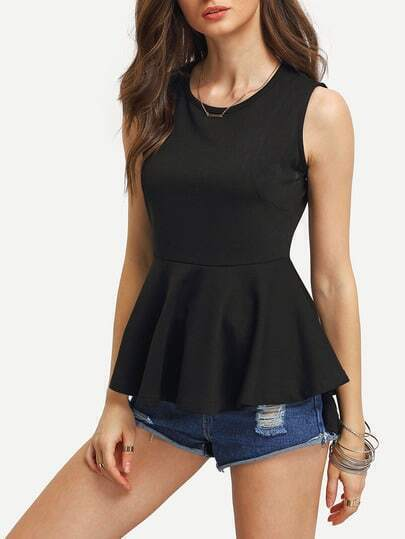 High-Low Peplum Tank Sleeveless Blouse