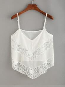 Lace Panel Asymmetric Cami Top