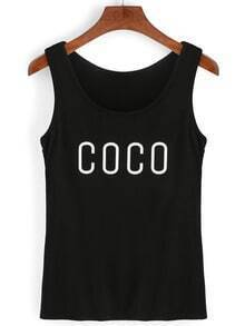 Contrast Letter Print Tank Top