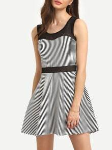 Mesh Insert Vertical Striped Dress