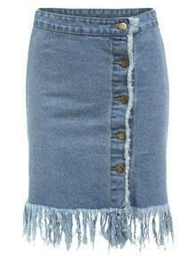 Frayed Buttoned Front Denim Skirt